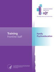 Family Psychoeducation: Training Frontline Staff - SAMHSA Store ...