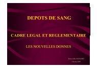 DEPOTS DE SANG - Coordonnateurs Régionaux d'Hémovigilance