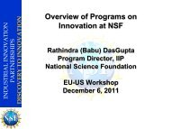 Overview of Innovation Programs at the National Science Foundation