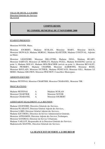 Conseil municipal du 17 novembre 2008 - Deuil-la-Barre