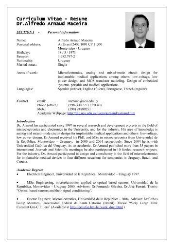Resume Dr.Alfredo Arnaud Dr.Alfredo Arnaud Maceira - Universidad ...