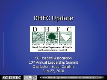 DHEC Update - South Carolina Hospital Association
