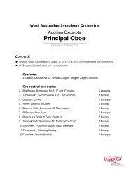 Principal Oboe - West Australian Symphony Orchestra