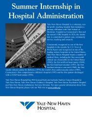 Summer Internship in Hospital Administration - Yale-New Haven ...