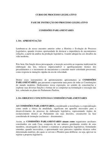Fase de Instrução do Processo Legislativo - Assembleia Legislativa ...