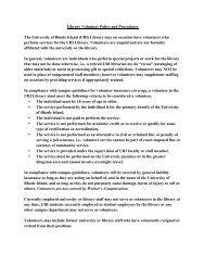 Library Volunteer Policy and Procedures - University of Rhode Island