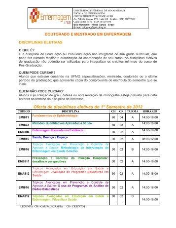 Oferta de disciplinas eletivas do 1º Semestre de 2012 - Escola de ...