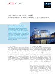 Saxo Bank und VDF von SIX Telekurs - SIX Financial Information