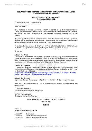 Reglamento de la Ley de Contrataciones del Estado - Instituto ...