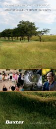 2006 Sustainability Highlights Brochure - Baxter Sustainability Report