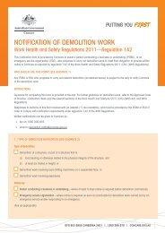 Notification of demolition work [PDF,151KB] - Comcare