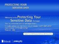 Protecting Your Sensitive Data Techcast Presentation - Sybase