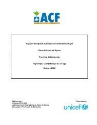 Rapport d'Enquête Nutritionnelle Anthropométrique Zone de Santé ...