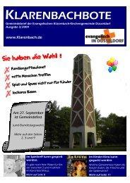 Klarenbachbote 3.09 - Evangelische Klarenbach-Kirchengemeinde