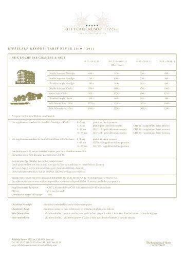 riffelalp resort: tarif hiver 2010 / 2011 - Riffelalp Resort 2222m