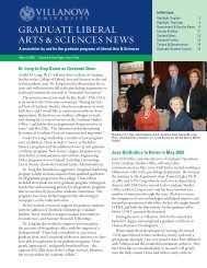 graduate liberal arts & sciences news - Villanova University