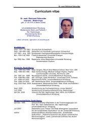 Curriculum vitae - Medizinische Klinik - Universitätsklinikum Würzburg
