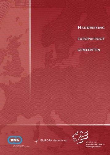 HANDREIKING EUROPAPROOF GEMEENTEN - Europa decentraal