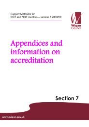 Appendices and information on accreditation - Wigan Schools Online