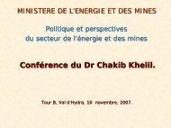 Réalisations (hydrocarbures) - Ministère de l'énergie et des mines