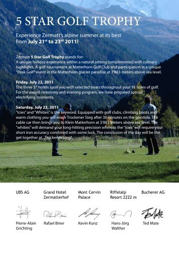 Zermatt 5 Star Golf Trophy - Riffelalp Resort 2222m
