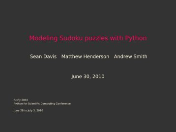 Modeling Sudoku puzzles with Python - SciPy Conferences