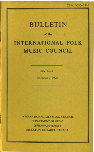 Oct 1978 - International Council for Traditional Music