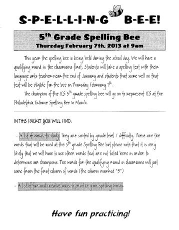 5th Grade Spelling Bee Study Packet - Independence Charter School