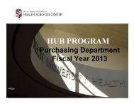 HUB Program Presentation Fiscal Year 2013 - TTUHSC :: Finance ...