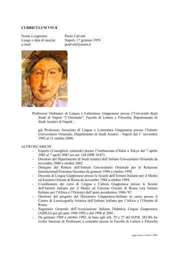 CURRICULUM VITÆ Nome e cognome: Paolo Calvetti ... - L'Orientale