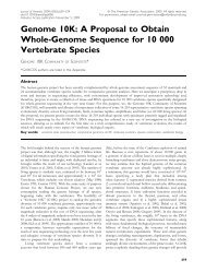Genome 10K: A Proposal to Obtain Whole-Genome Sequence for ...