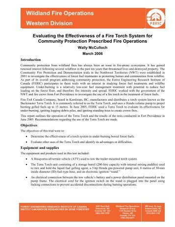 Report - FPInnovations Wildfire Operations Research