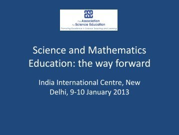 Science and Mathematics Education: the way forward