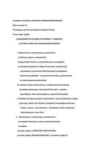 Przedmiot: HISTORIA LITERATURY HISPANOAMERYKAŃSKIEJ ...