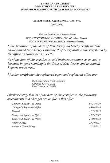 Certificate of Good Standing - Godwin Pumps