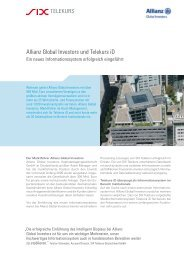 Allianz Global Investors und Telekurs  iD - SIX Financial Information