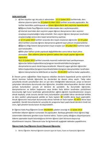 DERS KAYITLARI 1- a) Ders kayıtları ogr.nku.edu.tr ... - otomasyon