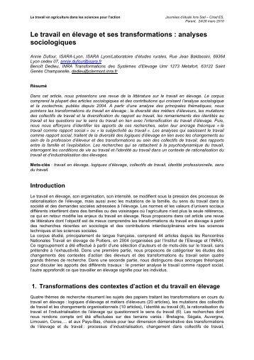 Le travail en élevage et ses transformations ... - INRA Montpellier