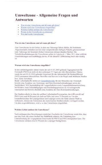 Umweltzone -Allgemeine Fragen und Antworten