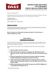 INSTRUCTIONS AND PARTS LIST FOR MODEL FORCE ... - Dake