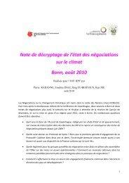 Note de décryptage de l'état des négociations sur le climat Bonn ...