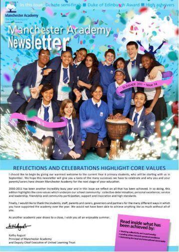 Manchester Academy Newsletter | Summer, 2011: Issue 14