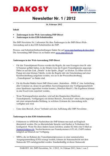 Newsletter Nr. 1 / 2012 - DAKOSY Datenkommunikationssystem AG