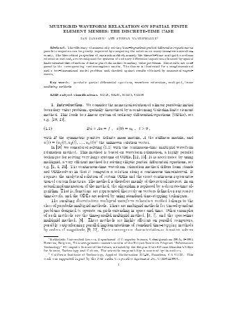 MULTIGRID WAVEFORM RELAXATION ON SPATIAL ... - Docweb