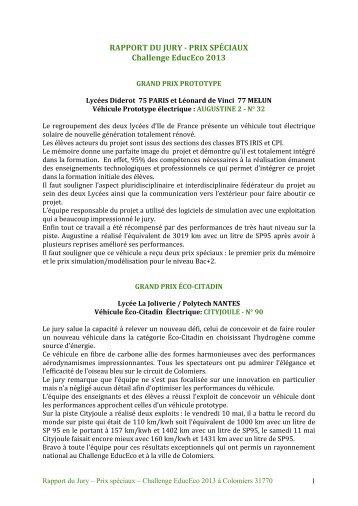 RAPPORT DU JURY -‐ PRIX SPÉCIAUX Challenge EducEco 2013