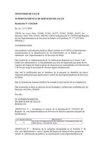 Resolución 1326/2010 - Superintendencia de Servicios de Salud