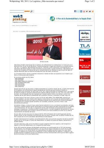 Page 1 of 2 Webpicking: SIL 2011: La Logística, ¡Más necesaria que ...