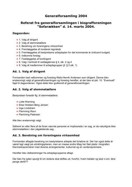 Referat fra generalforsamlingen i 2004 - Glostrup Bio