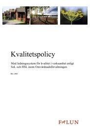 Kvalitetspolicy med ledningssystem för kvalitet - Falu Kommun