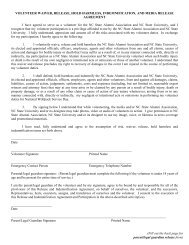 volunteer waiver, release, hold harmless and indemnification ...